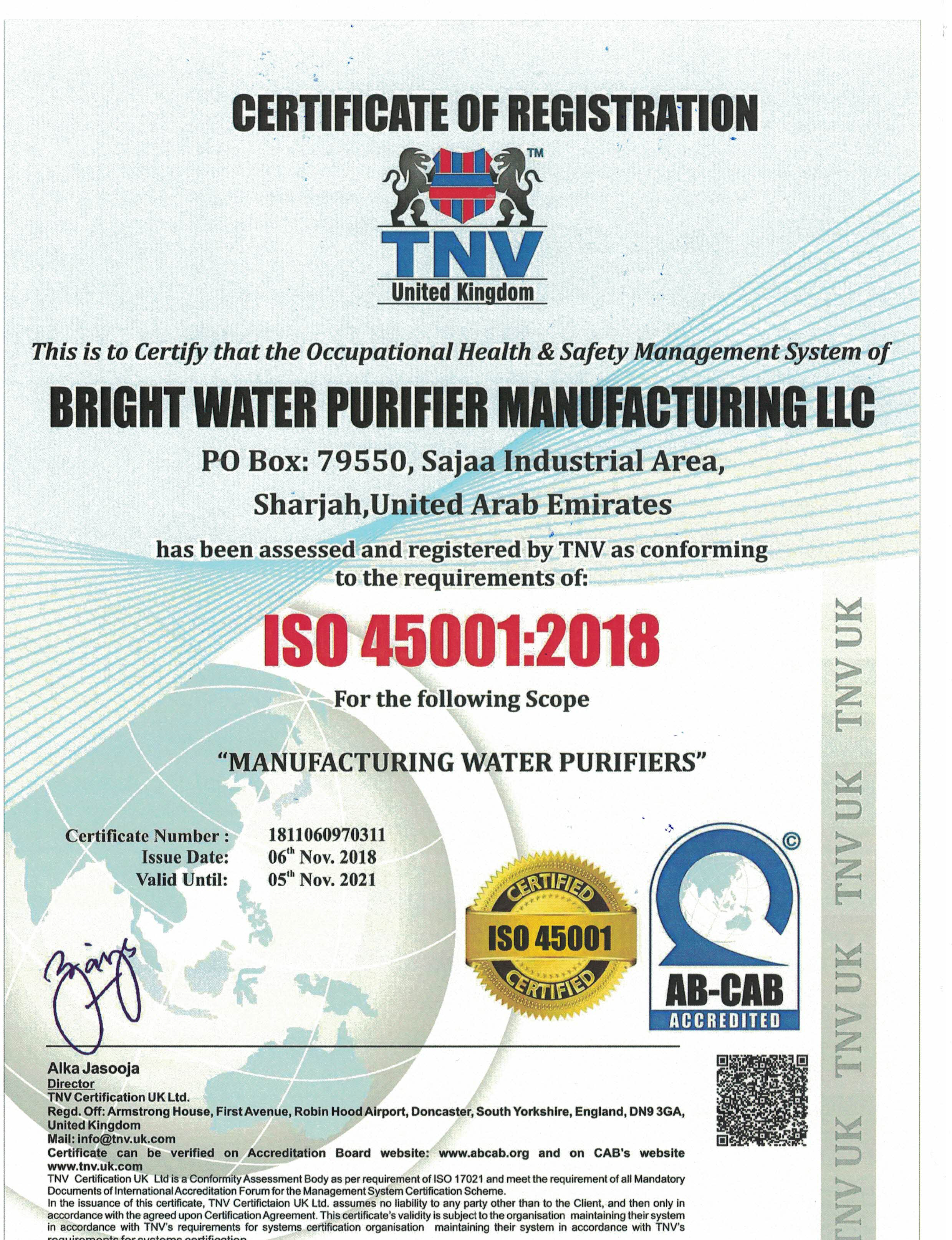 BRIGHT WATER PURIFIER MANUFACTURING LLC